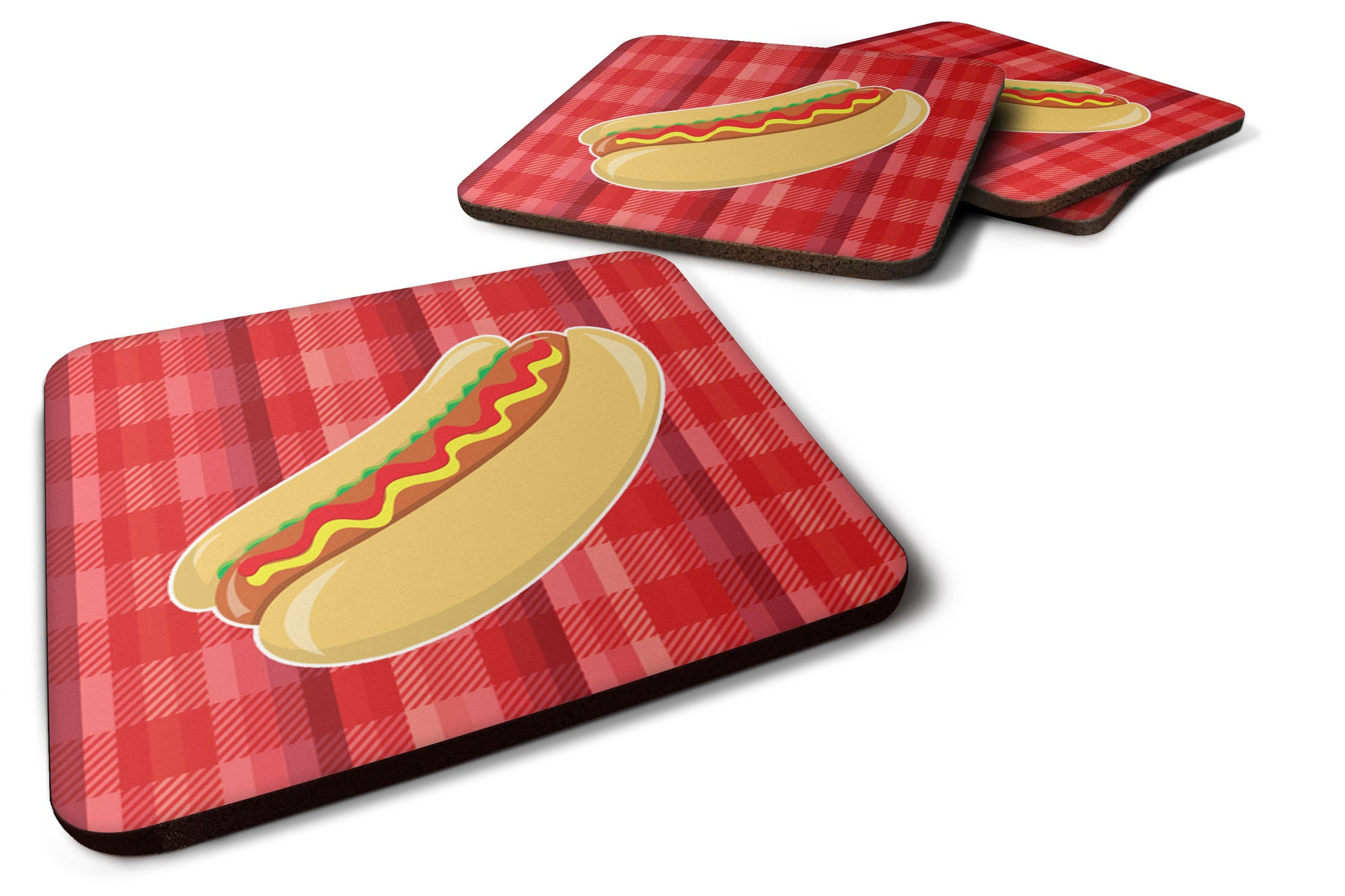 Hot Dog Plaid Foam Coaster Set of 4 BB6813FC by Caroline's Treasures