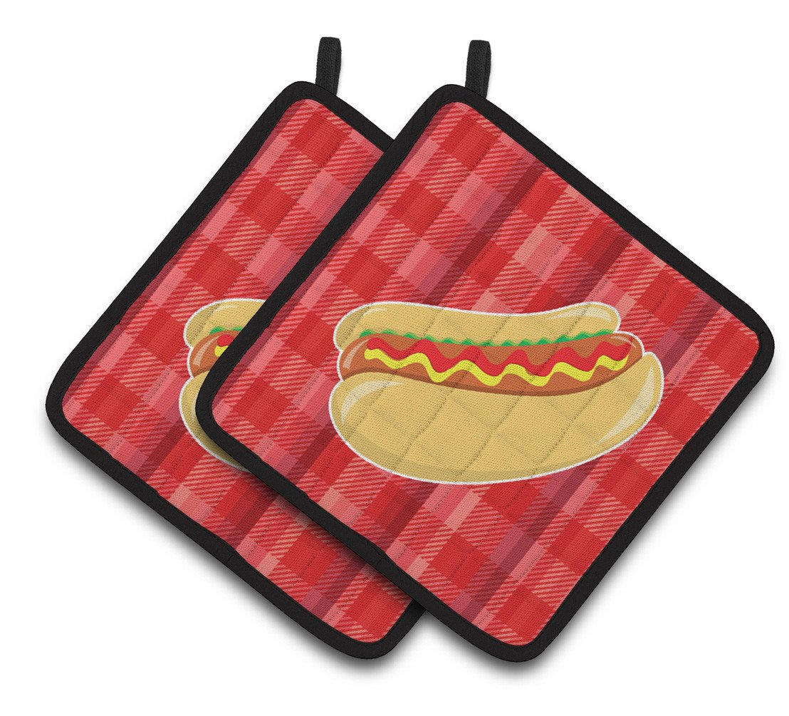 Hot Dog Plaid Pair of Pot Holders BB6813PTHD by Caroline's Treasures
