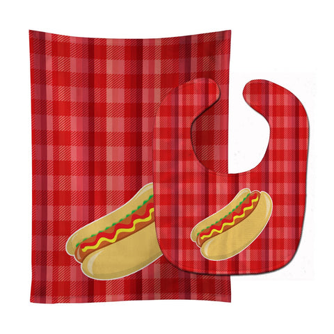 Buy this Hot Dog Plaid Baby Bib & Burp Cloth BB6813STBU