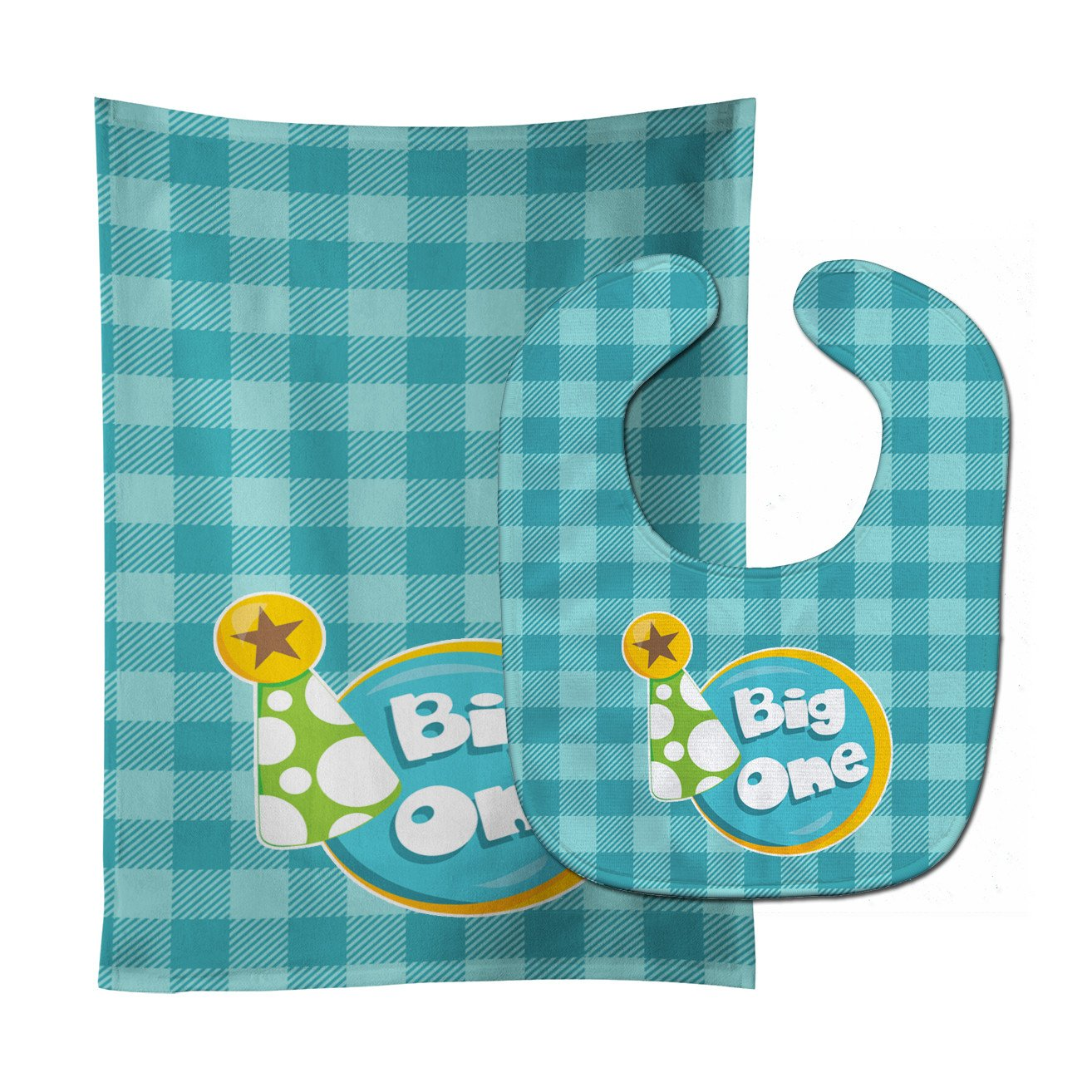 Boy Big One Baby Bib & Burp Cloth BB6824STBU by Caroline's Treasures
