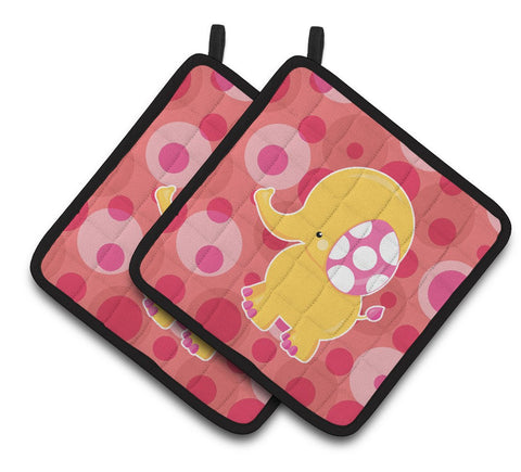 Buy this Girl Elephant Pair of Pot Holders BB6828PTHD