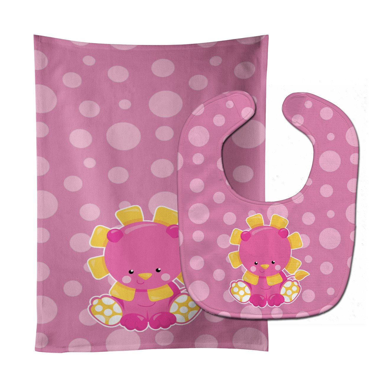 Buy this Girl Lion Baby Bib & Burp Cloth BB6829STBU
