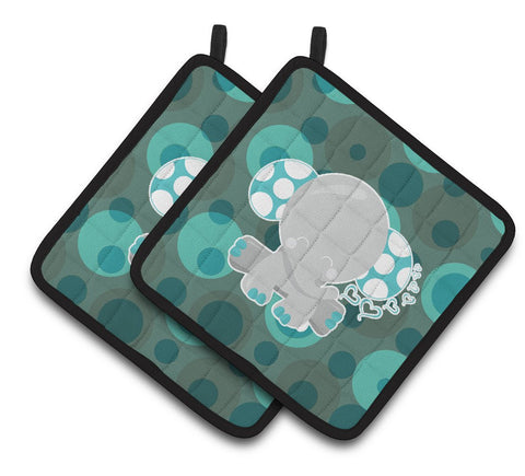 Buy this Polkadot Naptime Elephant Pair of Pot Holders BB6838PTHD