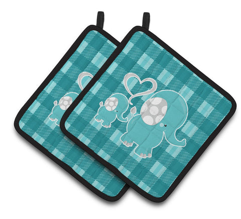 Buy this Plaid Momma and Baby Elephant Pair of Pot Holders BB6839PTHD