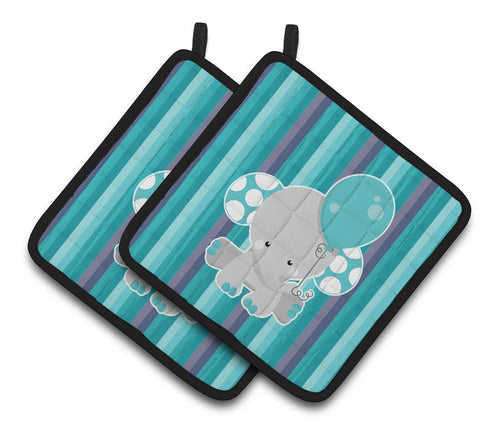 Buy this Grey Elephant with Balloon Pair of Pot Holders BB6842PTHD