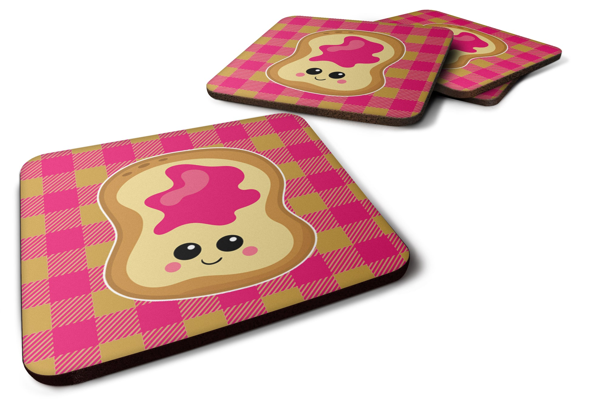 Jelly Toast Foam Coaster Set of 4 BB6844FC by Caroline's Treasures
