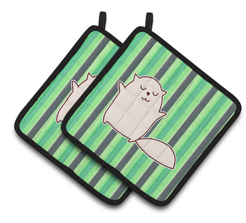 Buy this Cat Green Stripes Pair of Pot Holders BB6856PTHD