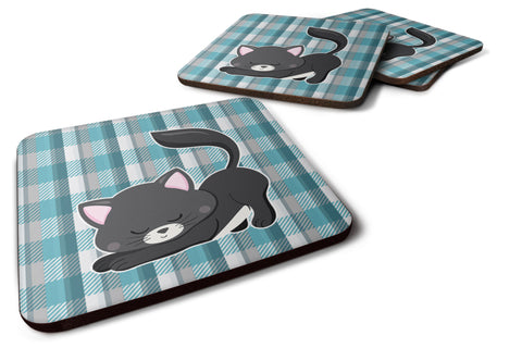 Buy this Little Black Cat Kitten Foam Coaster Set of 4 BB6881FC