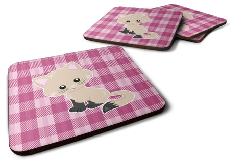 Buy this Kitten Cat on Pink Foam Coaster Set of 4 BB6886FC
