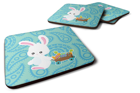 Buy this Easter Rabbit Paisley Blue Foam Coaster Set of 4 BB6898FC