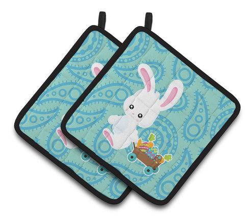 Buy this Easter Rabbit Paisley Blue Pair of Pot Holders BB6898PTHD