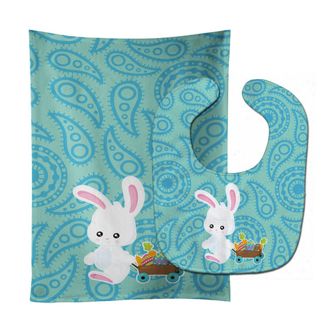 Buy this Easter Rabbit Paisley Blue Baby Bib & Burp Cloth BB6898STBU
