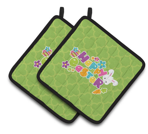 Buy this Happy Easter Green Quatrafoil Pair of Pot Holders BB6900PTHD