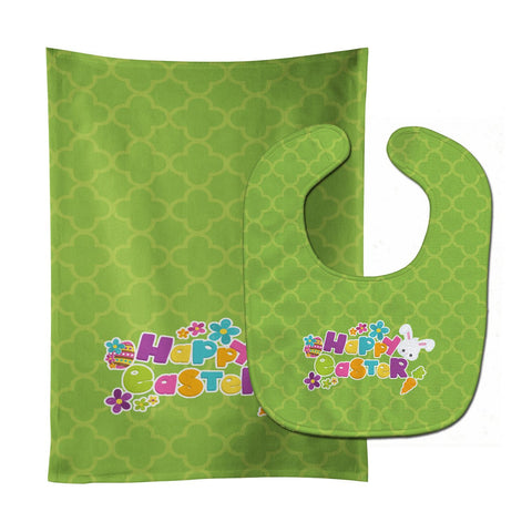 Buy this Happy Easter Green Quatrafoil Baby Bib & Burp Cloth BB6900STBU