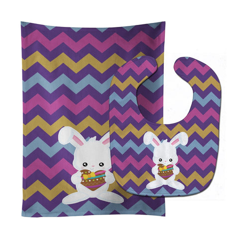 Buy this Easter Rabbit with Chocolate Heart Baby Bib & Burp Cloth BB6901STBU