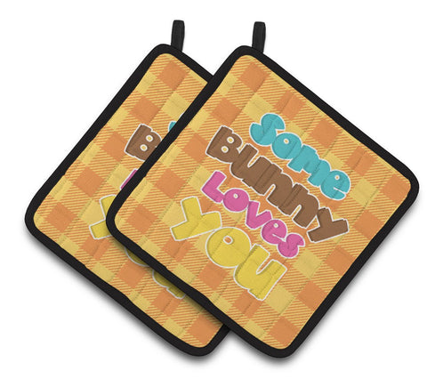 Buy this Easter Some Bunny Loves You Pair of Pot Holders BB6902PTHD