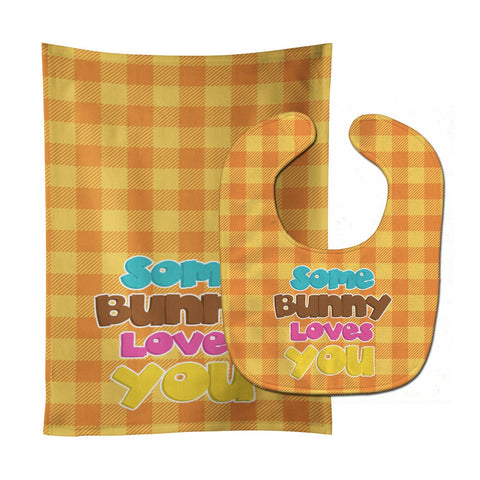 Buy this Easter Some Bunny Loves You Baby Bib & Burp Cloth BB6902STBU