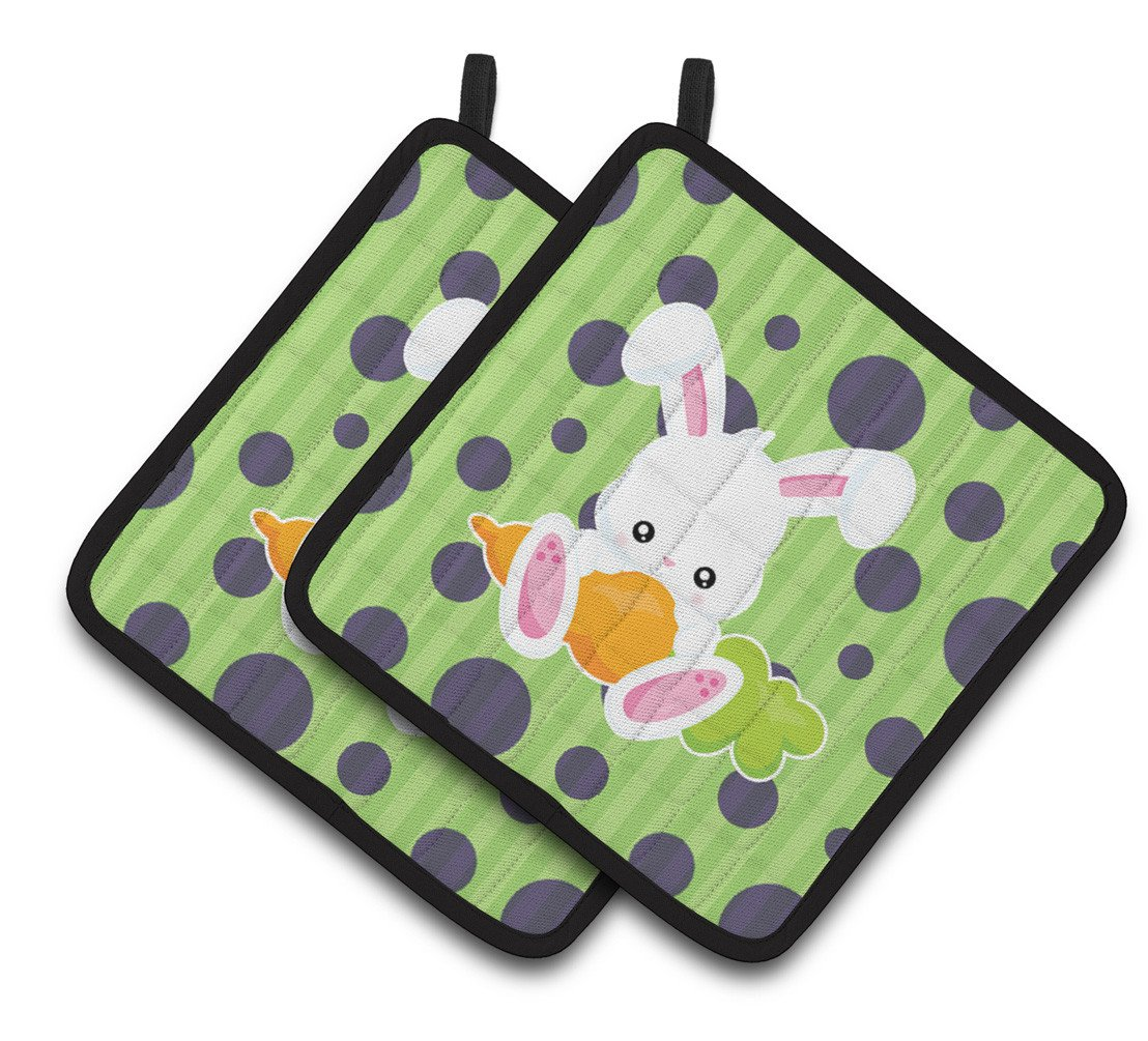 Easter Polkadot Rabbit Pair of Pot Holders BB6903PTHD by Caroline's Treasures