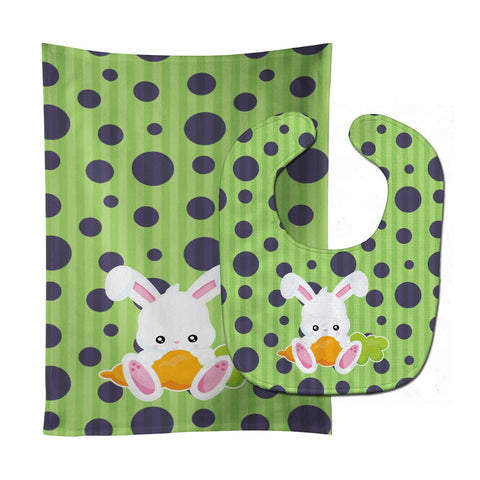 Buy this Easter Polkadot Rabbit Baby Bib & Burp Cloth BB6903STBU
