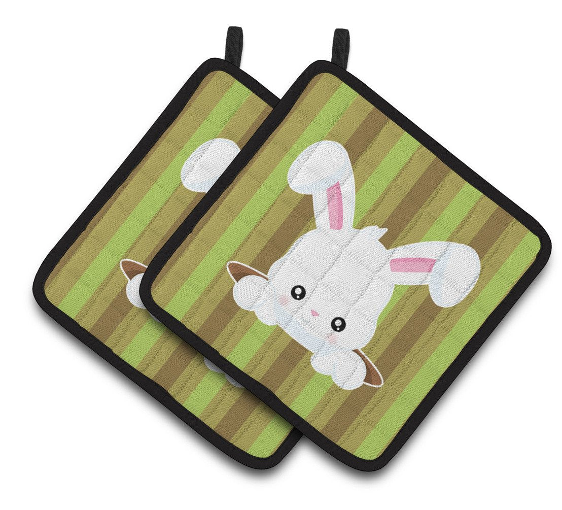 Easter Rabbit Hole Pair of Pot Holders BB6904PTHD by Caroline's Treasures