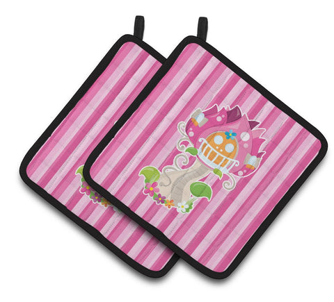 Buy this Fairy House Pink Stripes Pair of Pot Holders BB6907PTHD
