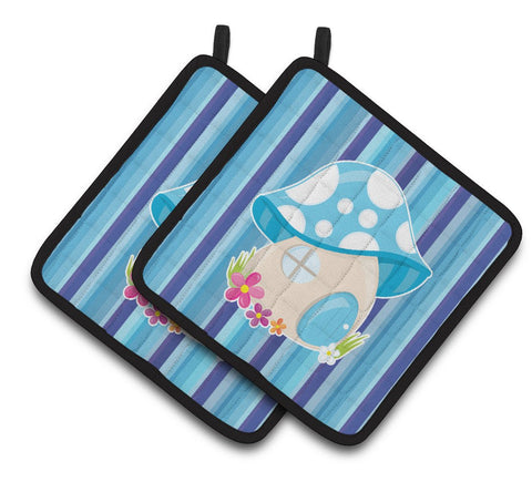 Buy this Fairy House Blue Stripes Pair of Pot Holders BB6911PTHD