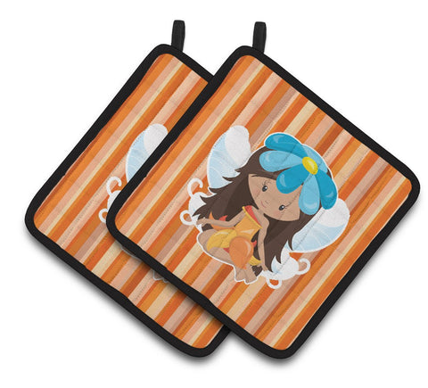 Buy this Fairy Orange Stripes Pair of Pot Holders BB6913PTHD