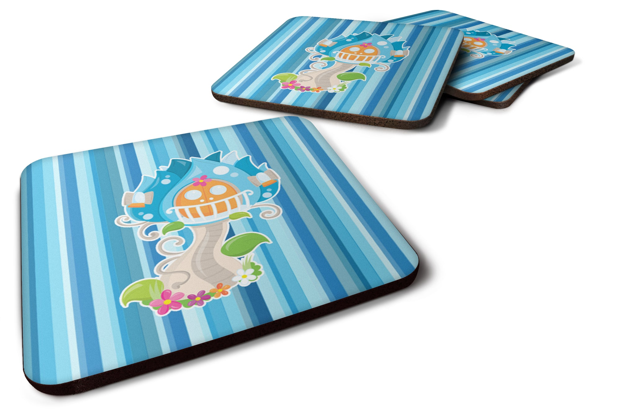 Fairy House Blue Stripes Foam Coaster Set of 4 BB6914FC by Caroline's Treasures