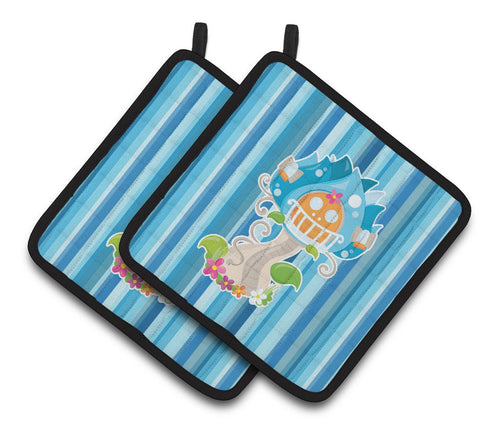Buy this Fairy House Blue Stripes Pair of Pot Holders BB6914PTHD