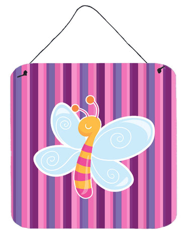 Buy this Dragonfly in Pink Stripes Wall or Door Hanging Prints BB6916DS66