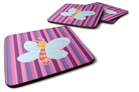Buy this Dragonfly in Pink Stripes Foam Coaster Set of 4 BB6916FC