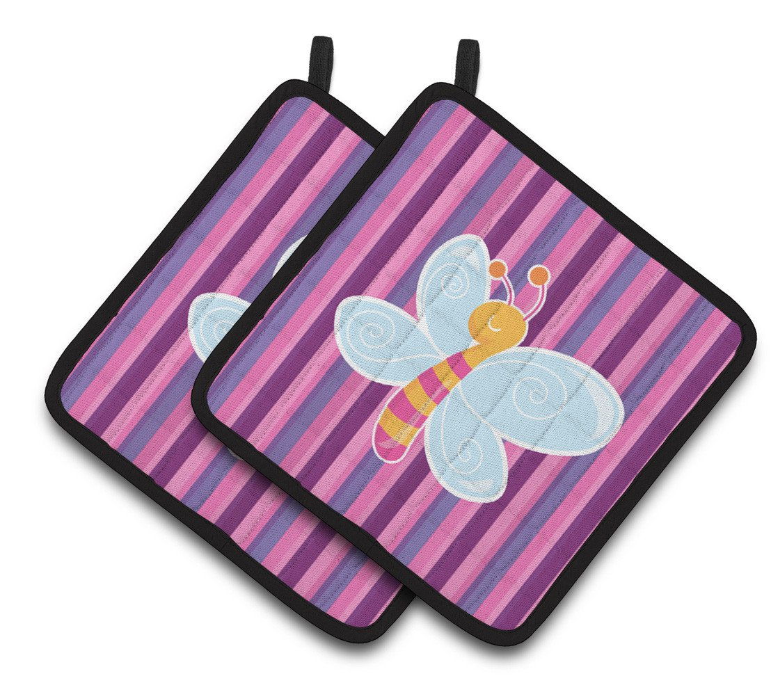 Dragonfly in Pink Stripes Pair of Pot Holders BB6916PTHD by Caroline's Treasures