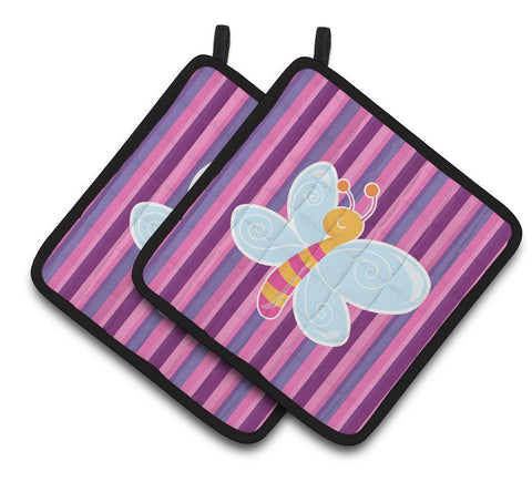 Buy this Dragonfly in Pink Stripes Pair of Pot Holders BB6916PTHD