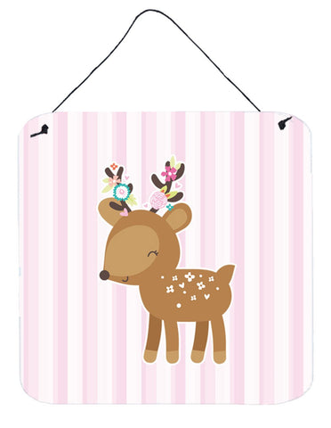Buy this Deer in Pink Stripes Wall or Door Hanging Prints BB6934DS66
