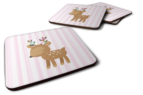 Buy this Deer in Pink Stripes Foam Coaster Set of 4 BB6934FC