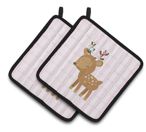 Buy this Deer in Pink Stripes Pair of Pot Holders BB6934PTHD