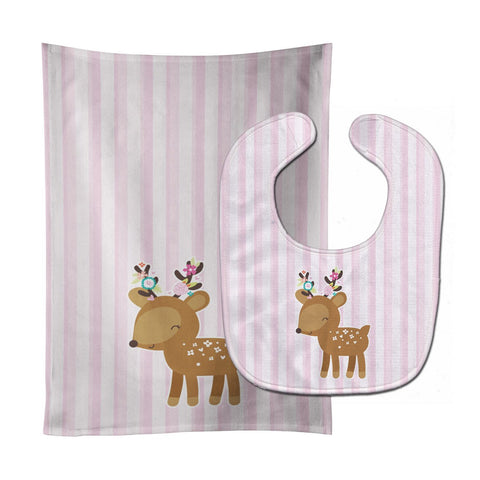 Buy this Deer in Pink Stripes Baby Bib & Burp Cloth BB6934STBU