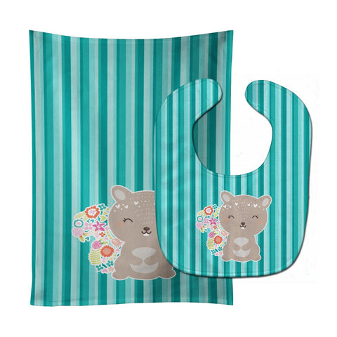 Buy this Flowered Squirrel Baby Bib & Burp Cloth BB6936STBU
