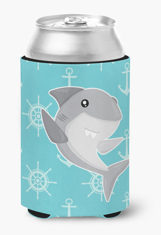 Buy this Shark on Blue Nautical Can or Bottle Hugger BB6940CC