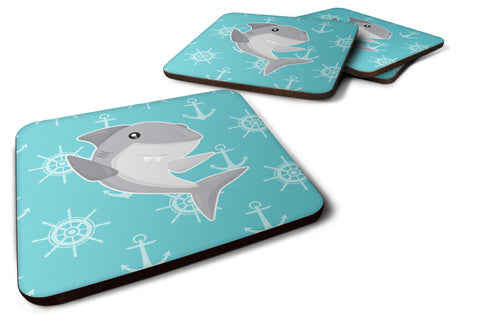Buy this Shark on Blue Nautical Foam Coaster Set of 4 BB6940FC