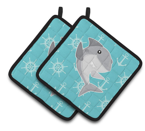 Buy this Shark on Blue Nautical Pair of Pot Holders BB6940PTHD