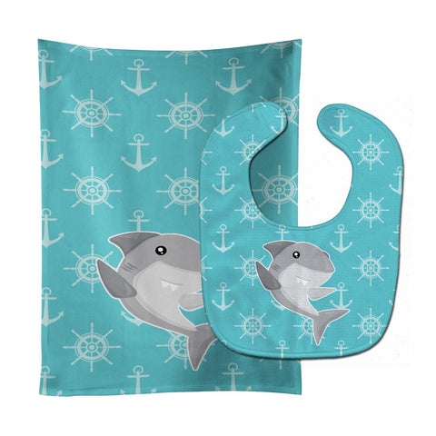 Buy this Shark on Blue Nautical Baby Bib & Burp Cloth BB6940STBU