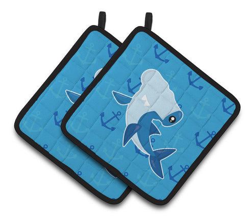 Buy this Hammerhead Shark on Anchors Pair of Pot Holders BB6941PTHD