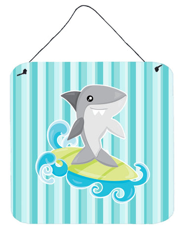 Buy this Surfin Shark on Stripes Wall or Door Hanging Prints BB6942DS66