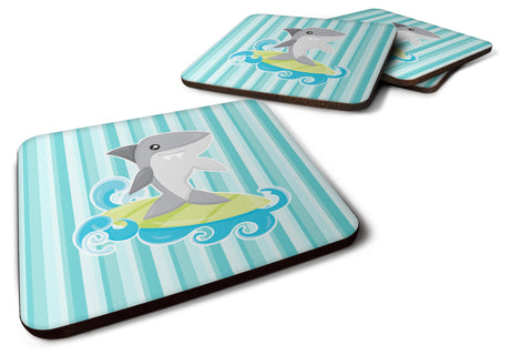 Buy this Surfin Shark on Stripes Foam Coaster Set of 4 BB6942FC