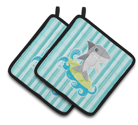 Buy this Surfin Shark on Stripes Pair of Pot Holders BB6942PTHD