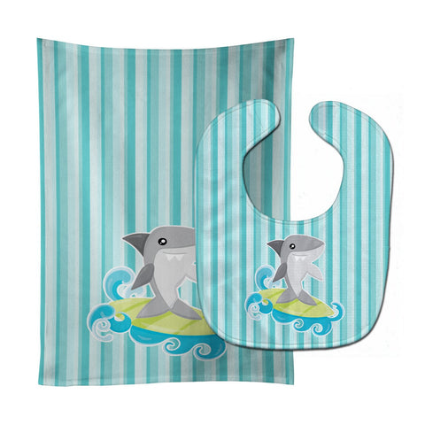 Buy this Surfin Shark on Stripes Baby Bib & Burp Cloth BB6942STBU
