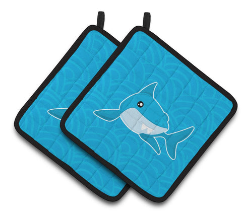 Buy this Shark with Waves Pair of Pot Holders BB6943PTHD