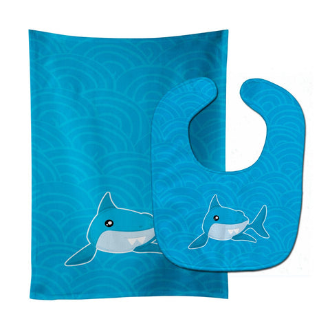 Buy this Shark with Waves Baby Bib & Burp Cloth BB6943STBU
