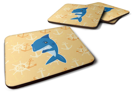 Buy this Shark on Beige Nautical Foam Coaster Set of 4 BB6946FC